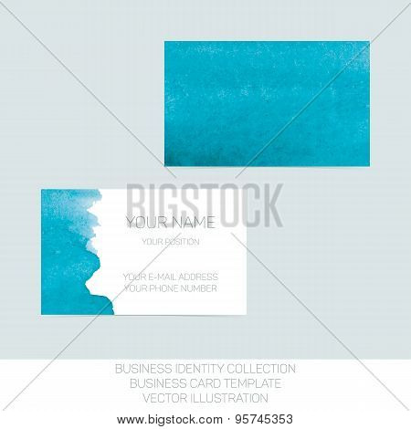 Business identity collection: turquoise tiffany teal watercolor. Front and back sides for business c