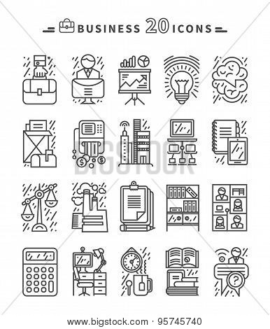 Set of Black Business Icons on White Background