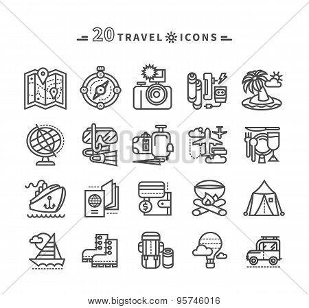 Set of Black Travel Icons on White Background
