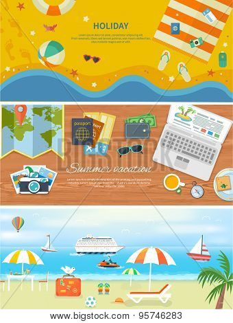 Beach Holidays in Flat Design Detailed Web Banners