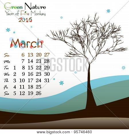 Abstract Nature Background With Spring Tree. March
