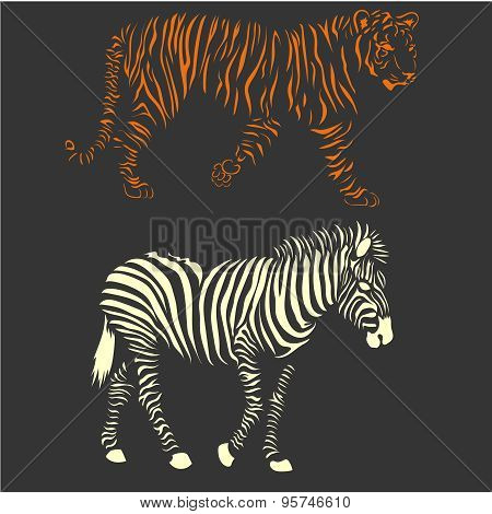 vector zebra and tiger