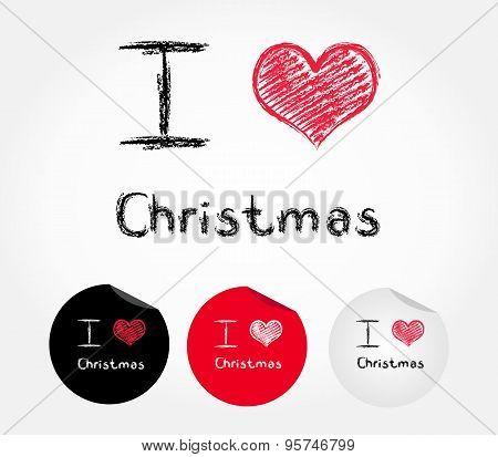 I love Christmas - vector illustration