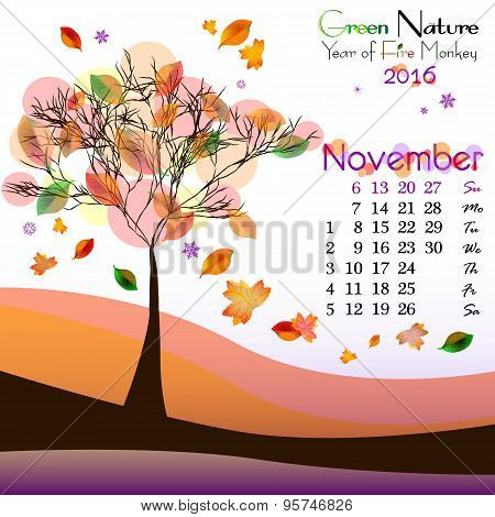 Abstract Nature Background With Autumn Tree. November