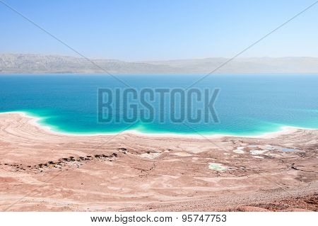 Aerial View Dead Sea Coast Landscape With Therapeutic Curative Mud