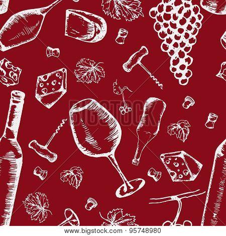 Wine seamless pattern.