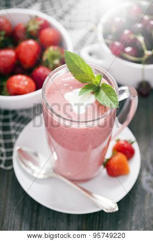 Delicious Dessert Protein With Strawberries. Yogurt In A Glass