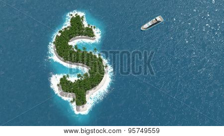 Tax haven, financial or wealth evasion on a dollar island. A luxury boat is sailing to the island.