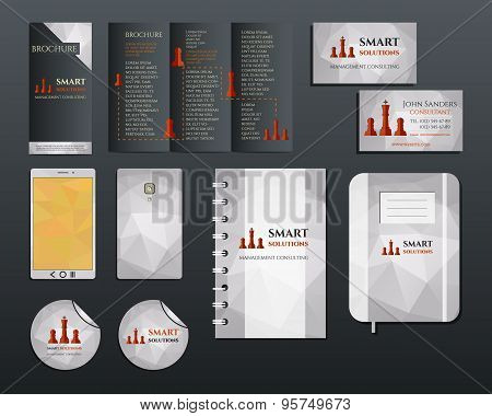 Business corporate branding identity set. Brochure mobile device, business card, label, brand book i