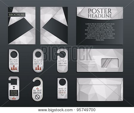 Business corporate branding identity set. Brochure and flyer design template, envelope, stickers in