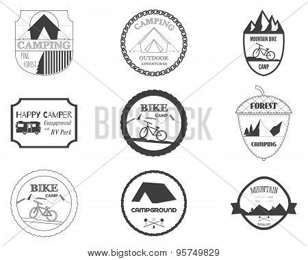 Set of retro badges and label logo graphics. Camping badges and travel logo emblems. Mountain bike,