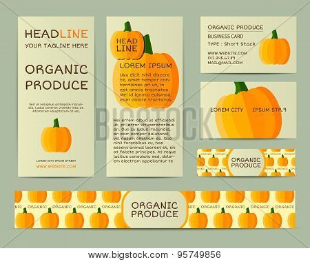 Farm Fresh business corporate identity design with pumpkin. Branding your organic company. Mock up d