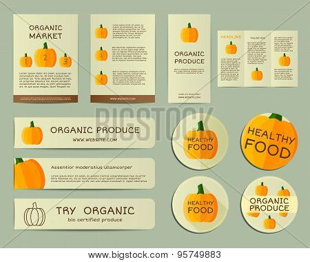 Organic business corporate identity design with pumpkin. Branding your organic company. Brochure. Mo