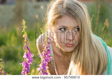 Beautiful Blonde And Flowers
