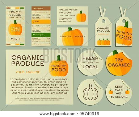 Organic business corporate identity design with pumpkin. Branding your organic company. Menu card. M