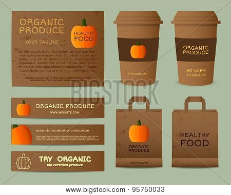 Natural business corporate identity design with pumpkin. Branding your organic company. Paper bag, c