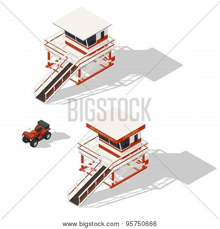 Lifeguard Tower And Quad Bike Isometric Icons Set