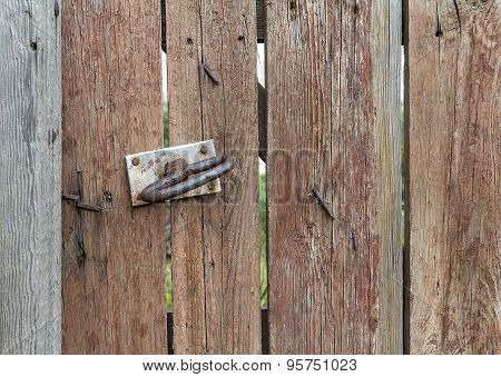 Old Wood And Door Handle. Texture And Background