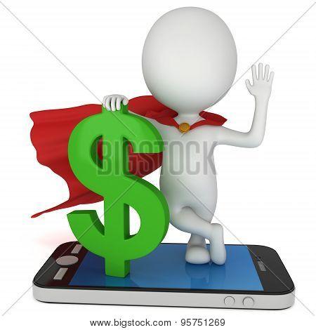 Superhero With Dollar On Smartphone