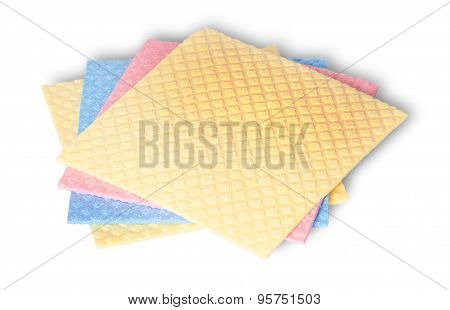 Stack Of Multicolored Sponges For Dishwashing
