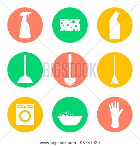 Vector cleaning products icons. Sponge and washing machine and mop and cleaner.