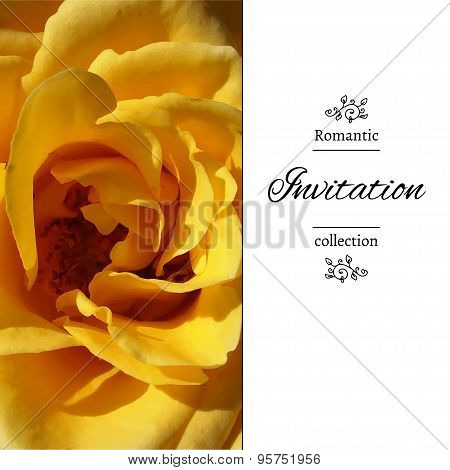 Invitation card with a yellow rose.