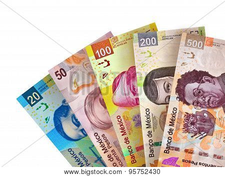 Mexican Peso Bills Background