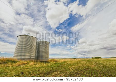 Prairie Landscape with Grain Silos