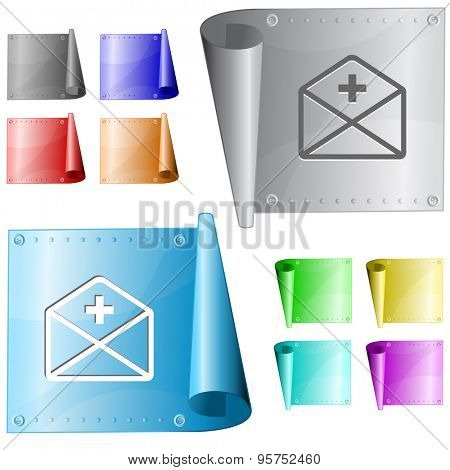 mail plus. Vector metal surface.