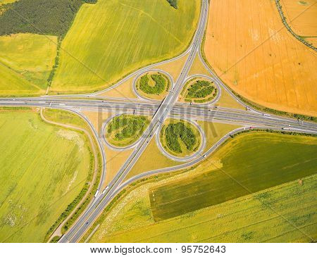 Aerial view of highway D5 interchange  nearby Pilsen, Czech republic, Central Europe. Transportation in rural landscape. Environmental concept.