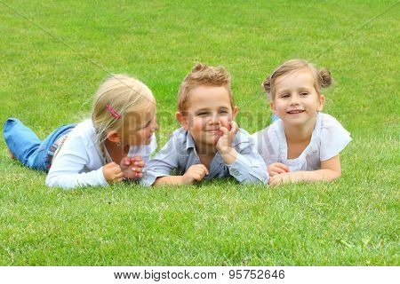Three little friends have a fun on meadows. Happy holidays and back to school.