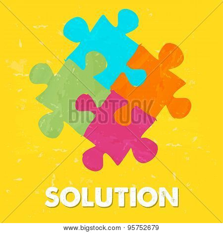 Solution And Puzzle Pieces In Grunge Drawn Style