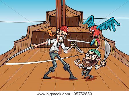 Catoon priates dueling