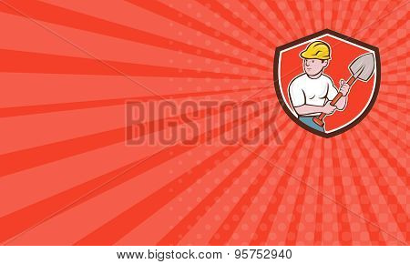Business Card Builder Construction Worker Spade Shield Cartoon
