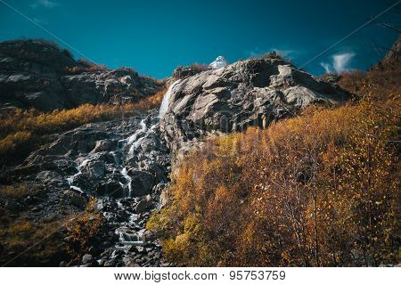 The Mountain Autumn Landscape With Colorful Forest And High Peaks Caucasus Mountains