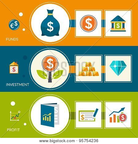 Investment Fund Profit Horizontal Banners