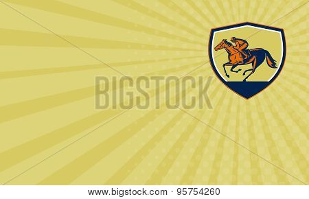Business Card Jockey Horse Racing Shield Woodcut