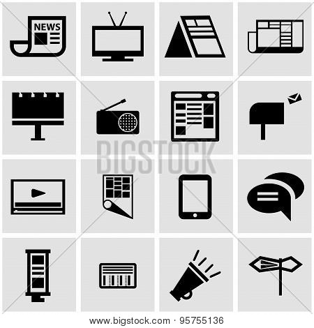 Vector Black Advertisement Icon Set