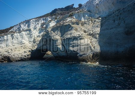 Unique Sea Cave Sykia On  Island Of Milos , Greece