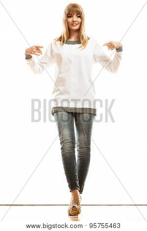 Fashion Woman In Blank White Tshirt