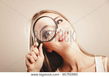 Girl Holding On Eye Magnifying Glass Loupe