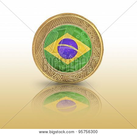 One Brazilian Real flag in a coin