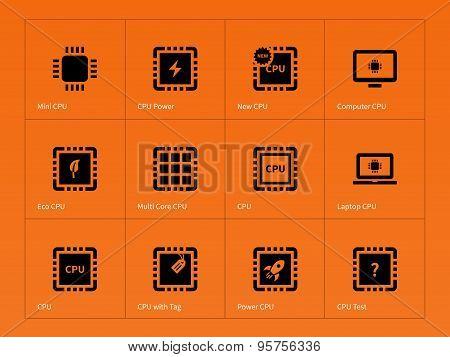 Microchip and microprocessor icons on orange background.