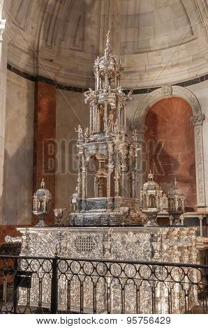Silver Monstrance In The Cadiz Cathedral