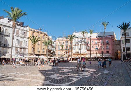 Plaza De La Catedral In Caidz, Spain