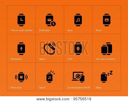 Smart gadget and watch icons on orange background.