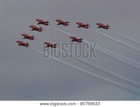 Red Arrow Display Team Flying Together