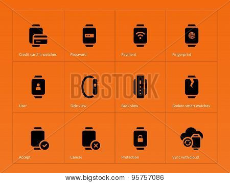 Smart gadget and payment icons on orange background.