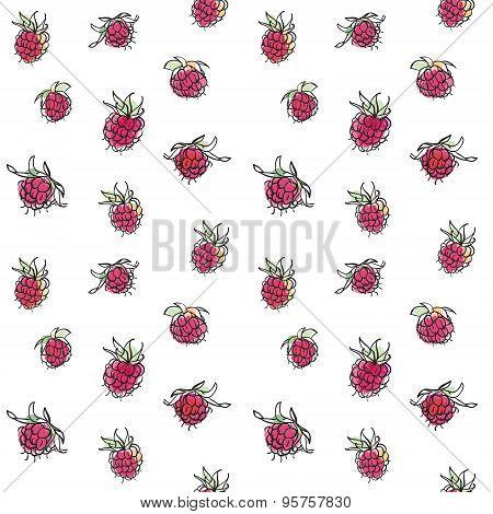 Raspberry seamless pattern.
