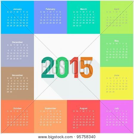 Calendar 2015 - square pattern - flat color